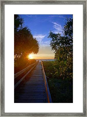 Sunset At The End Of The Boardwalk Framed Print
