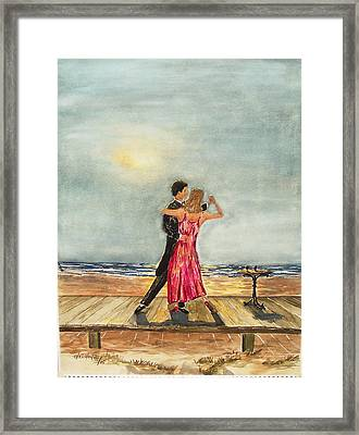 Boardwalk Dancers Framed Print by Miroslaw  Chelchowski
