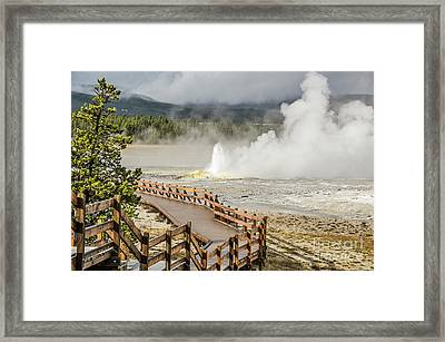Framed Print featuring the photograph Boardwalk Overlooking Spasm Geyser by Sue Smith