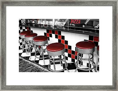 Boardwalk Stool Fusion Framed Print by John Rizzuto
