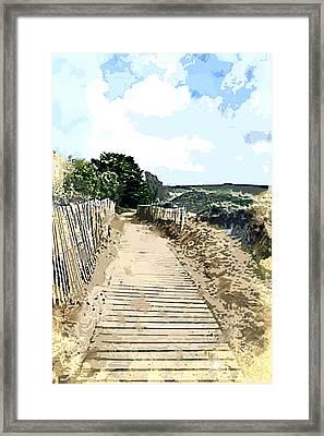Boardwalk Through The Dunes Framed Print by Elaine Plesser