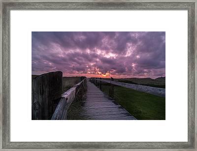 Boardwalk To Pacific Ocean Framed Print by Michael J Bauer