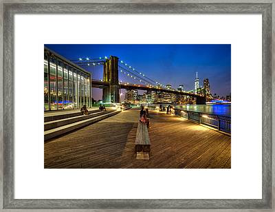 Boardwalk View At Brooklyn Bridge Park Framed Print by Daniel Portalatin