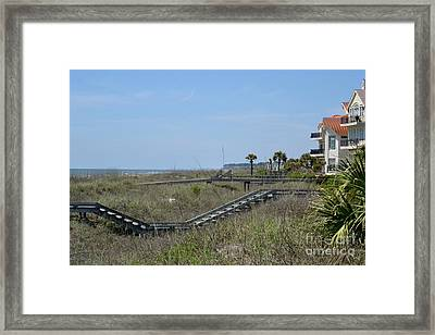 Framed Print featuring the photograph Boardwalks And Sand Dunes by Carol  Bradley