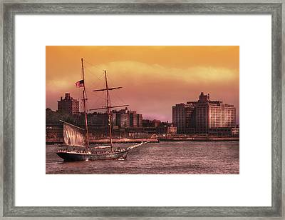 Boat - Ny - The Clipper  Framed Print by Mike Savad