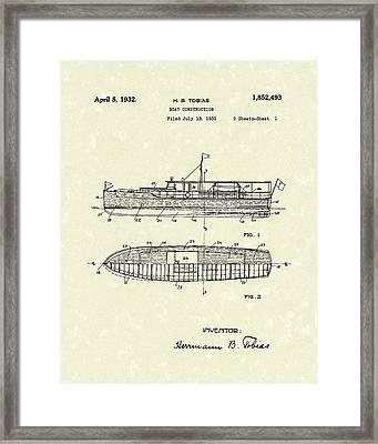 Boat 1932 Patent Art Framed Print by Prior Art Design