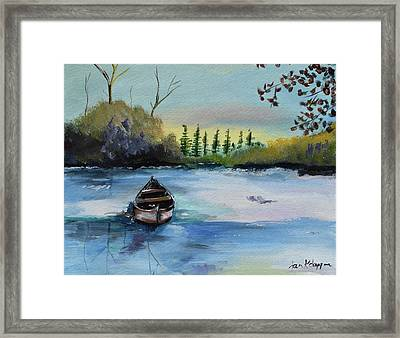 Framed Print featuring the painting Boat Abandoned On The Lake by Jan Dappen