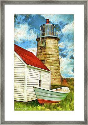 Boat And Lighthouse, Monhegan, Maine Framed Print by Dave Higgins