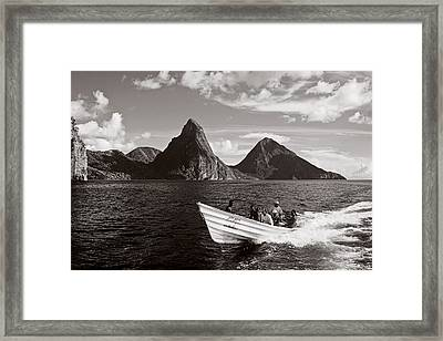 Boat And Pitons-st Lucia Framed Print