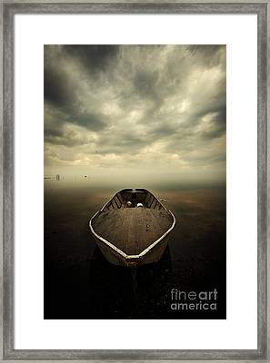 Boat And Storm Framed Print by Caio Caldas