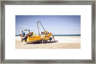 Framed Print featuring the photograph Boat And The Beach by Silvia Bruno