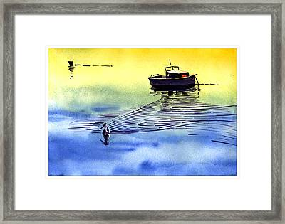 Boat And The Seagull Framed Print by Anil Nene