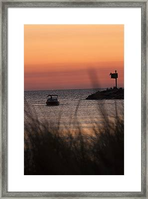 Boat Arriving At New Buffalo Harbor Framed Print by Christopher Purcell
