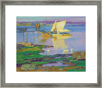Boat At Dock Framed Print by MotionAge Designs