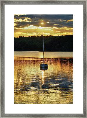 Boat At Sunset Framed Print by Lilia D