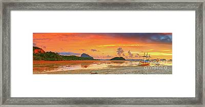 Boat At Sunset Framed Print by MotHaiBaPhoto Prints