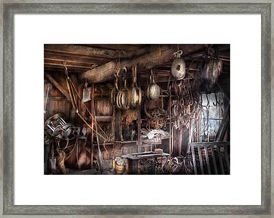 Boat - Block And Tackle Shop  Framed Print by Mike Savad
