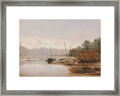 Boat Building Near Dinan, Brittany Framed Print by Francis Danby