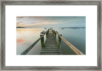 Boat Dock At Sunrise Grey Blue Panorama Framed Print