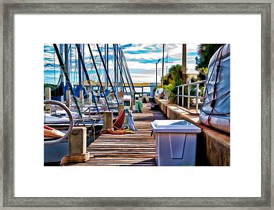 Boat Dock Framed Print by Deborah