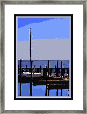 Boat  Dock  In  Blue Framed Print by Linwood Branham