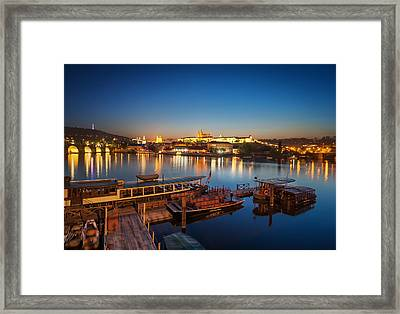 Boat Dock Near St. Vitus Cathedral, Prague, Czech Republic. Framed Print