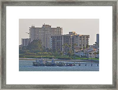 Boat Dock On The Bay Framed Print by Peter  McIntosh