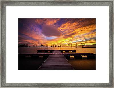Boat Dock Sunset Framed Print