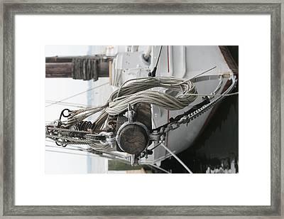 Boat Docked In St. Michael Framed Print by Karen Fowler