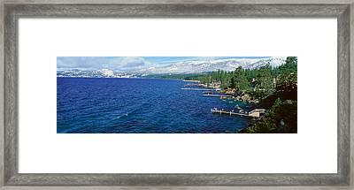 Boat Docks In Wintertime, Lake Tahoe Framed Print