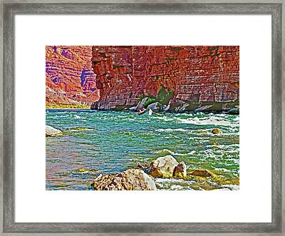 Boat Entering Pariah Riffle At Lee's Ferry-arizona   Framed Print