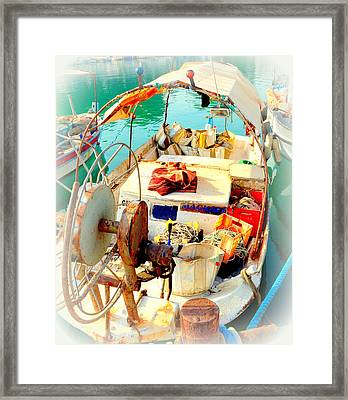 Enter My Boat And Let's Go Away From It All And Never Look Back  Framed Print