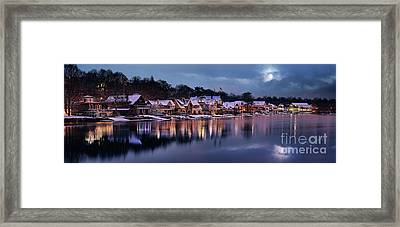 Boat House Row Snow Panorama Framed Print