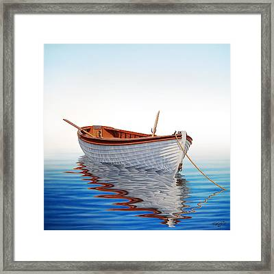 Boat In A Serene Sea Framed Print by Horacio Cardozo
