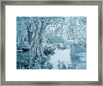 Boat In Blue Framed Print by Robbi  Musser