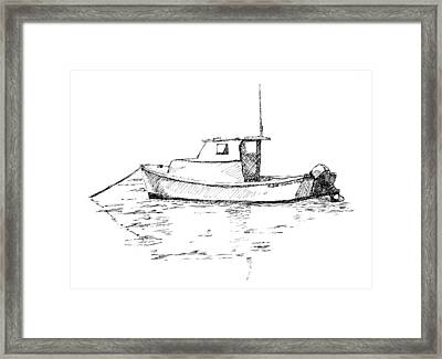 Boat In Casco Bay Framed Print