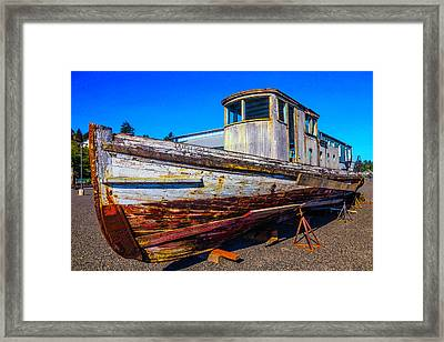 Boat In Dry Dock Framed Print by Garry Gay