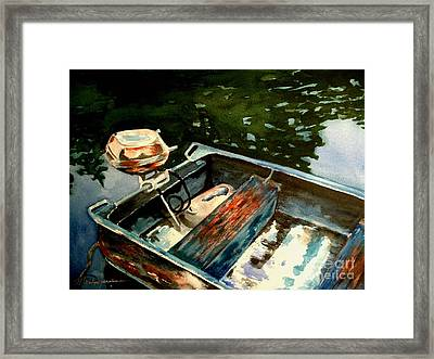 Boat In Fog 2 Framed Print by Marilyn Jacobson