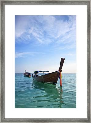 Boat In Libe Island  Framed Print by Anek Suwannaphoom