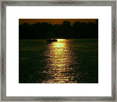 Boat In The Reflection Framed Print by D R TeesT