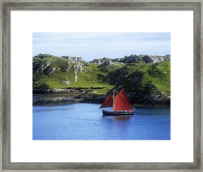 Boat In The Sea, Galway Hooker, County Framed Print