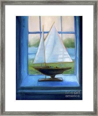 Boat In The Window Framed Print