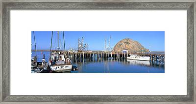 Boat Landing And Morro Rock At Morro Framed Print by Panoramic Images