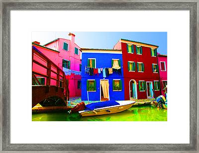 Boat Matching House Framed Print by Donna Corless