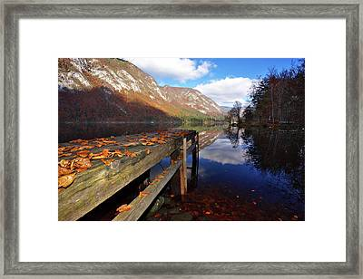 Boat Mooring At Lake Bohijn Framed Print