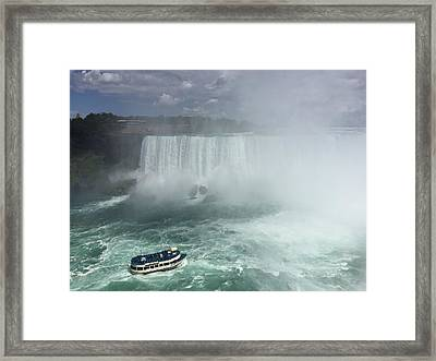 Boat Near Niagara Falls Framed Print