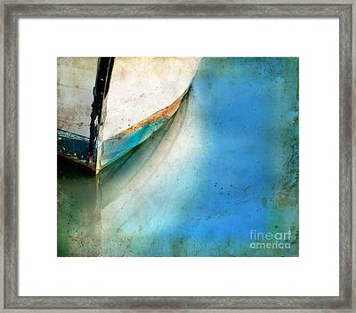 Framed Print featuring the photograph Bow Of An Old Boat Reflecting In Water by Jill Battaglia