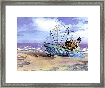 Boat On A Beach Framed Print by Sergey Zhiboedov