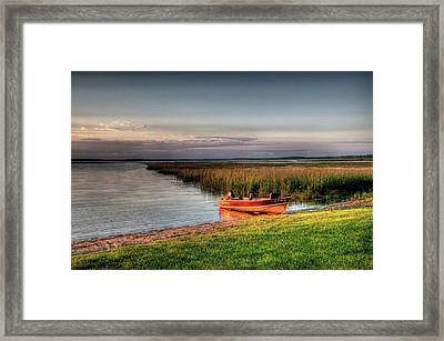 Boat On A Minnesota Lake Framed Print