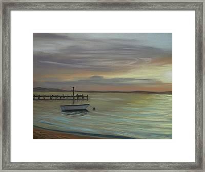 Boat On Bay Framed Print by Joan Swanson